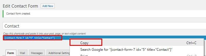 contact form 7 plugin sortcode
